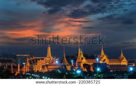 Wat Phra Kaew, Temple of the Emerald Buddha,Grand palace at twilight in Bangkok, Thailand - stock photo