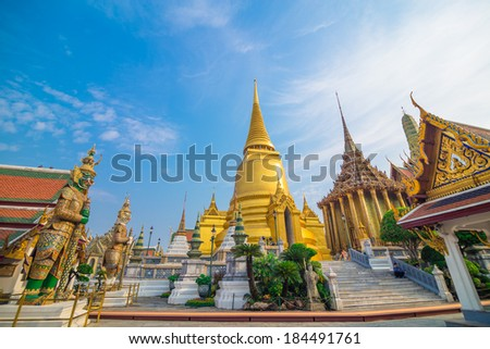 Wat Phra Kaew, Temple of the Emerald Buddha with blue sky Bangkok, Asia Thailand - stock photo