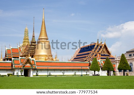 Wat Phra Kaew tourism travel in thailand.at bangkok of thailand.wat phra kaew travel of thailand. - stock photo
