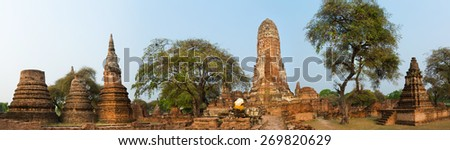 Wat Phra Ram. Ayutthaya historical park. Panorama - stock photo