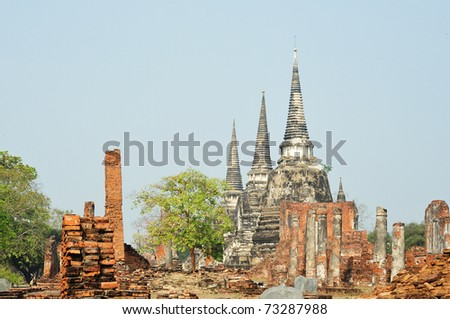 Wat phra sri sanphet Ayutthaya Thailand - stock photo