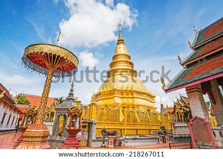 Wat Phra That Hariphunchai , Lamphun Province, Thailand  - stock photo
