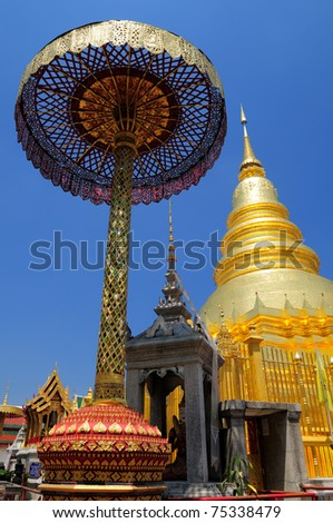 Wat Phra That Hariphunchai, one of the most famous temple in Lamphun, Thailand. The Holy Relics are contained inside the golden pagoda.
