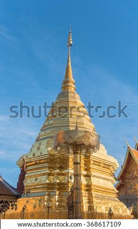 Wat Phrathat Doi Suthep Wora Maha Wihan is a Buddhist temple in Chiang Mai, Thailand - stock photo