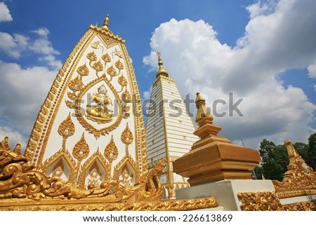 Wat Phrathat Nong Bua against blue sky and cloud in Ubon Ratchathani province, Thailand - stock photo