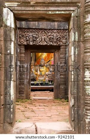 wat phu champasak temple ruins, laos - stock photo