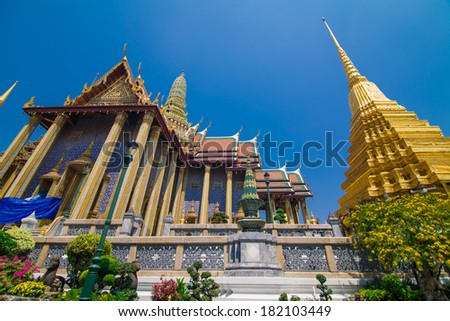 Wat pra kaew Grand palace bangkok, Thai temple - stock photo