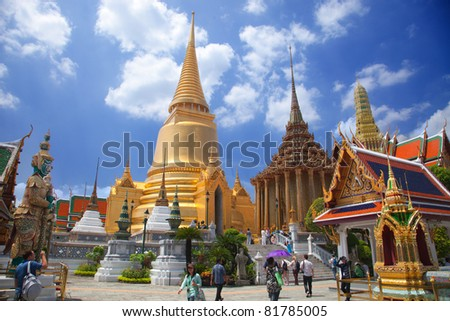 Wat pra kaew, Grand palace bangkok, THAILLAND - stock photo