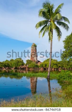 Wat praram temple flood in Ayutthaya, Thailand - stock photo