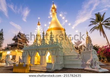 Wat Prathat Doi Kong Mu, Mae Hong Son, Thailand. - stock photo
