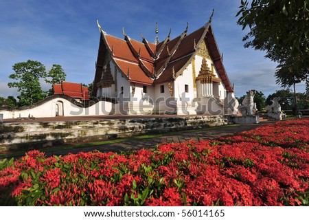 Wat Puminthr at Nan province and the door to the art of stucco serpent - stock photo