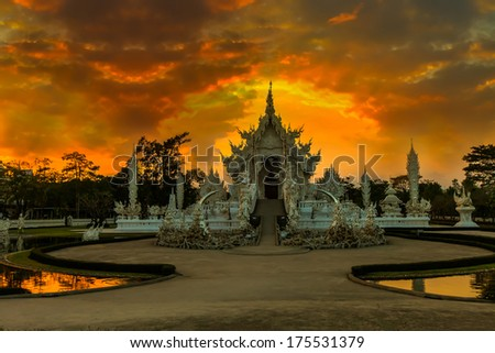 Wat Rong Khun, with the last light. - stock photo