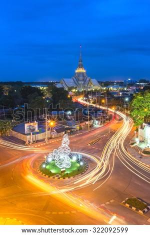 Wat Sothorn Wararam Worawihan Temple in Chachoengsao Province, Asia Thailand - stock photo
