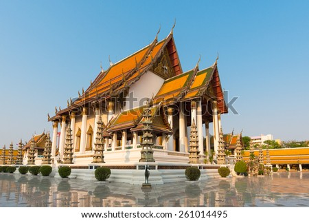 Wat Suthat Thep Wararam temple. It is a royal temple of the first grade, one of ten such temples in Bangkok, Thailand - stock photo