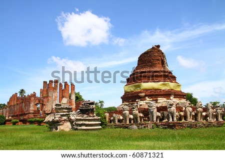 Wat Tummickarat in Ayutthaya Historic Park, Thailand. Ayutthaya is one of world heritage park.