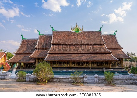 Wat Xieng thong temple in Luang Pra bang, Laos. - stock photo