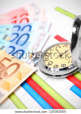 Watch and banknote euro on graphs. - stock photo