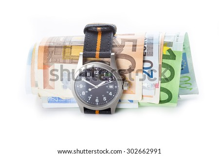 Watch and banknotes isolated on white background showing the concept of time is money - stock photo