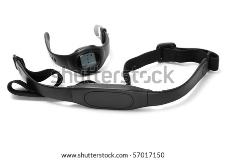 watch and chest strap of a heart rate monitor on a white background - stock photo