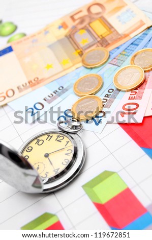 Watch and money. On financial graphs. - stock photo