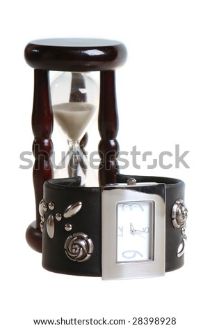 Watch and sandglass on white background - stock photo