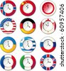 Watch, at which the flags of some countries. Raster version - stock vector