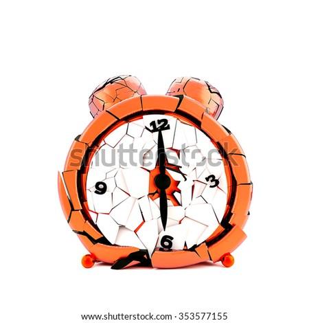 Watch broken into small pieces. Broken time. Broken clock. - stock photo