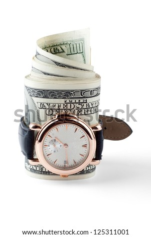Watch dressed to dollar roll - stock photo