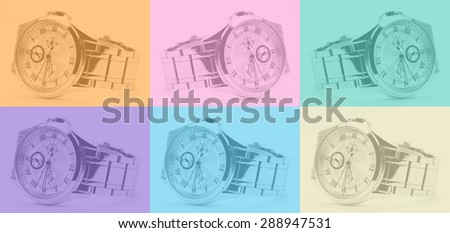 Watch foreground variety soft colors. - stock photo