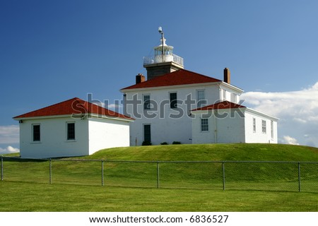 Watch Hill Lighthouse Horizontal with Copy Space - stock photo