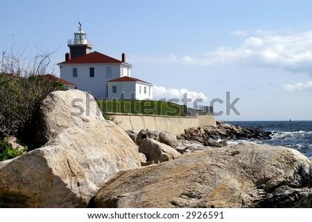 Watch Hill Lighthouse Station, Watch Hill, Rhode Island - stock photo