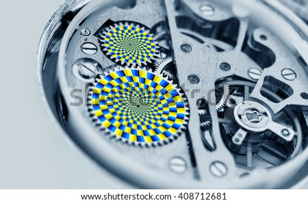 Watch mechanism gears turning - optical illusion