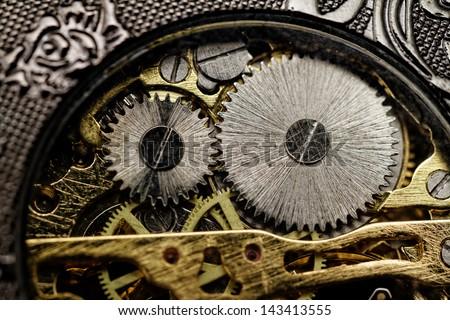 watch mechanism very close up - stock photo