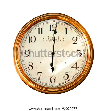 Watch, old style, isolated on white (clipping paths included) - stock photo