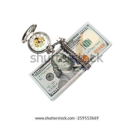 Watch on a pack of dollars. Isolated on white background - stock photo
