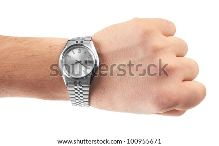 watch on man`s hand on white background - stock photo