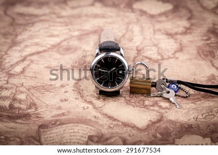 Watch on map background lock key stock photo 291677534 shutterstock watch on map background the lock with a key on world map gumiabroncs Gallery