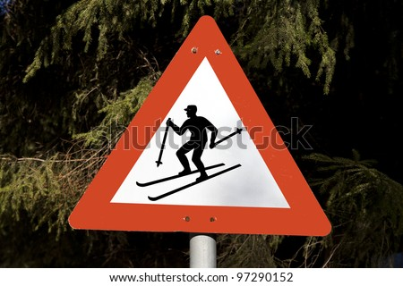 watch out for cross-skier - stock photo