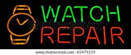 Watch Repair Neon Sign - stock photo