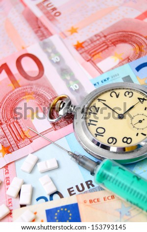Watch, tablets  for euro banknotes