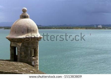 Watch tower in El Morro castle at old San Juan, Puerto Rico. - stock photo