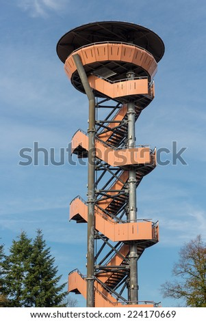Watch tower in the forest near Nunspeet, The Netherlands - stock photo