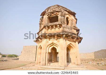 Watch tower of royal fort, Zenana Enclosure at ancient town Hampi, Karnataka state, India  - stock photo