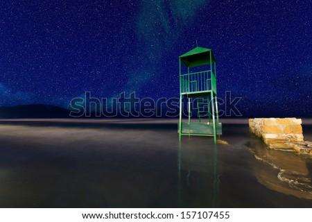 Watch tower on the beach of Laganas in Zakynthos island Greece - stock photo