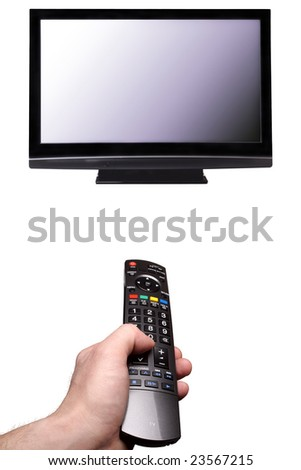 Watch TV? Mans hand with tv remote control direct plasma TV. Isolated on white background.