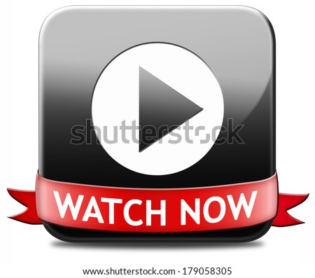 watch video black button or play movie now online. Play multi media and start watching - stock photo