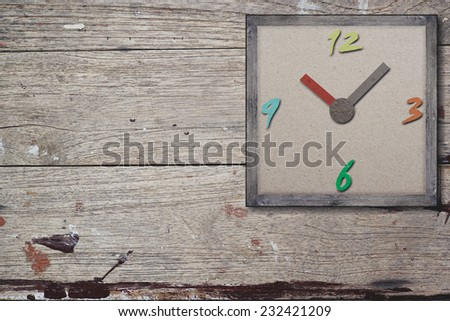 Watch, vintage colorful Paper collage on paper background. The concept of time. - stock photo