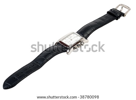 Watch with a leather strap on a white background.