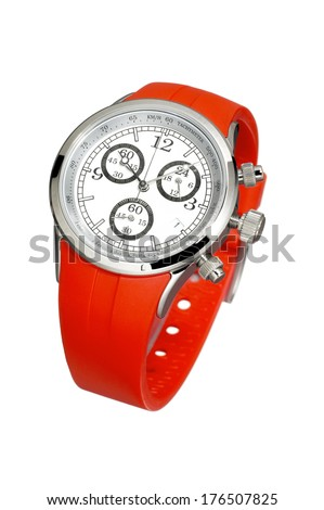 Watch with Red Wristband - stock photo