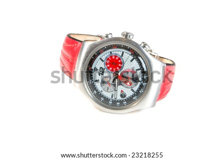Watch with red wristlet on white ground